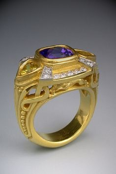22K Gold and Platinum, Tanzanite, Diamond and Yellow Sapphire Ring by Athenae Inc ~ x