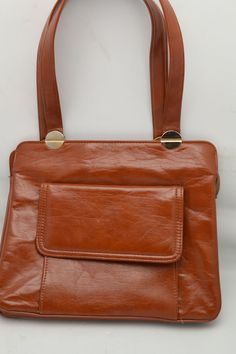 Vintage Garay Top Handle Handbag Rust Colored Faux Leather with Outside Pocket Unique Gift for Her