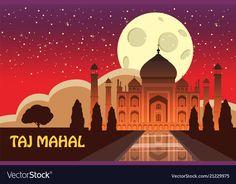 The taj mahal white marble mausoleum on the south vector image on VectorStock Single Image, Pune, White Marble, Taj Mahal, Vector Free, Graphic Design, City, Illustration, Illustrations
