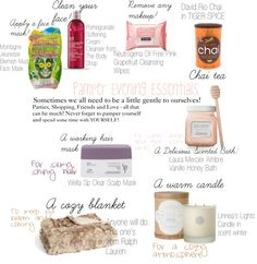"""""""My Essentials For A Pamper Evening"""" by loretta-vogue ❤ liked on Polyvore"""