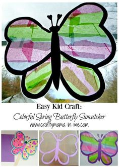 Easy Kid Craft: Colorful Spring Butterfly Suncatcher