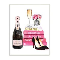 """Stupell Industries 10 in. x 15 in. """"Glam Pink Fashion Book Champagne Heels and Flowers"""" by Amanda Greenwood Printed Wood Wall Art, Multi-Colored Wood Wall Art, Framed Wall Art, Champagne Heels, Rosa Style, Art Sur Toile, Book Wall, Moet Chandon, Reproduction, Art Mural"""