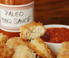 """Coconut Chicken Nuggets with Paleo """"BBQ"""" Sauce Recipe"""