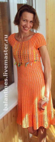 Вязаное платье крючком Оранжевое настроение из хлопка - вязаное платье