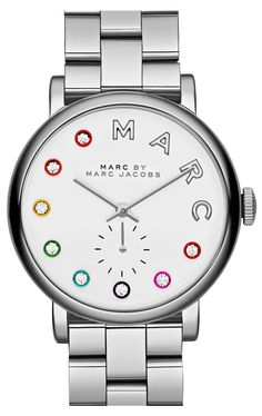 The pops of bright color surrounding sparkling crystals adds a fun, playful update to the otherwise classic and sophisticated Marc Jacob's watch.