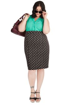Style Essential Skirt in Dots - Plus Size. Whether youre going for sleek and sophisticated or cute and casual, this polka-dotted pencil skirt is a fundamental part of building your outfit. #black #modcloth