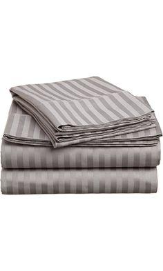100% Premium Long-Staple Combed Cotton 400 Thread Count Twin XL 3-Piece Bed Sheet Set, Stripe, Grey Best Price