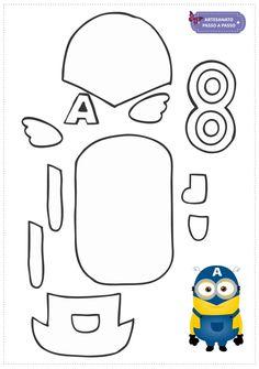 Minions de EVA: Moldes - Artesanato Passo a Passo! Felt Doll Patterns, Craft Patterns, Applique Patterns, Minion Template, Minion Pattern, Classroom Crafts, Preschool Crafts, Minions Eva, Minion Coloring Pages