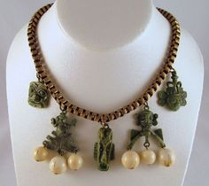 Tribal Masks Necklace Green Frog Beads by GrapenutGlitzJewelry