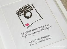 Reception Print Instagram Wedding Sign // Hashtag by sweetsanity