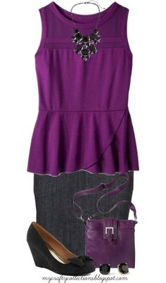 Women's Plus-Size Outfit - Peplum Top & Pencil Skirt - featuring items from Maurices, Target, Piperlime, and ModCloth.