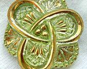 """Czech Vaseline Glass Button - Yellow Vaseline Glass """"Celtic Trinity Knot"""" Button w/ Gold Detail - Triquetra"""