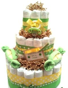 Two Peas in a Pod - Baby shower cake designs - Diaper cake Baby Shower Favors, Baby Shower Cakes, Baby Boy Shower, Baby Shower Decorations, Baby Shower Gifts, Baby Showers, Twin Diaper Cake, Nappy Cakes, Cake Baby