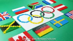 Olympic Perler Beads and other Olympic crafts! Perler Beads Pegboard, 3d Perler Bead, Pearler Beads, Fuse Beads, Olympic Crafts, Bead Crafts, Diy Crafts, Loom Love, Rainbow Loom Bracelets