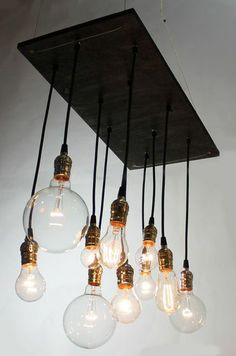 "I love the vintage, yet industrial feel of this handmade urban chandelier and with stained plywood, lamp parts from your local hardware store and some cool ""Edison Bulbs"" you can make your own- for a heck of a lot less than $400!!!"