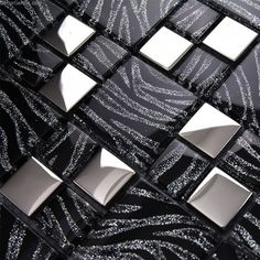 Fashion black glass mosaic tiles,Cabinet Kitchen backsplash Bathroom wall home improvement art decor wallpaper Mosaic Backsplash, Glass Mosaic Tiles, Kitchen Backsplash, Mirror Wall Tiles, Bathroom Wall, Glass Kitchen, Metal Wall Decor, Metal Walls, Modern Kitchens