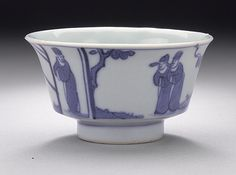 Cup (Bei) with Four Figures, Ming dynasty, Chongzhen mark and period, 1628-1644  Ceramic; Porcelain; Blue and White, Wheel-thrown porcelain with blue painted decoration under clear glaze, Height: 1 5/8 in. (4.13 cm); Diameter: 2 7/8 in. (7.3 cm)  Gift of Carl Holmes (59.70.12)