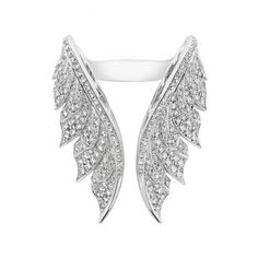Stephen Webster Pavé Open Feather Ring - White Gold