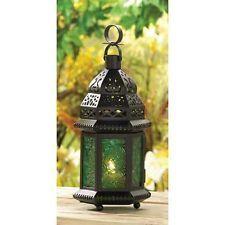 Gypsy Boho Moroccan Style Green Glass Lantern Wedding Decor