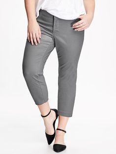 Smooth & Slim Plus-Size Pixie Chino, in the navy & gray stone. 44.94