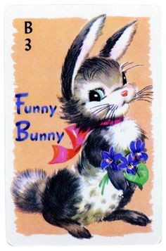 vintage game card funny bunny