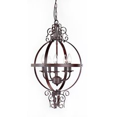 This beautiful chandelier features an antique copper finish with an orb-style construction and a 5-light capacity. Blending old-world charm with a modern technique, this traditional light fixture is sure to lend a unique, elegant touch to your decor.