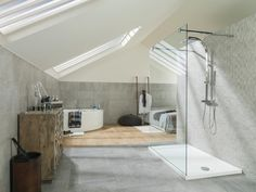 Find bathroom design inspiration in our Surrey showroom. View the Porcelanosa tile collections & modern bathroom furniture & taps. Attic Bathroom, Family Bathroom, Bad Inspiration, Bathroom Inspiration, Rustic Bathrooms, Modern Bathroom, Bathroom Furniture, Bathroom Interior, Glass Shower Enclosures