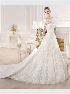 White A Line With Sleeves Lace  2014 Wedding Dresses
