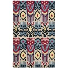 Safavieh Hand-made Ikat Beige/ Blue Wool Rug (6' x 9')