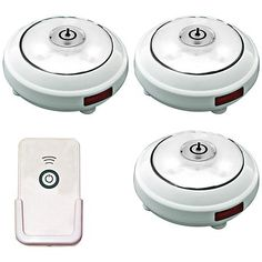 Set of 6 Cordless Battery Powered LED Puck Lights - #N4788 | www.lampsplus.com