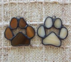 Paw print ornaments set of 2 stained glass paws for von Faithlady