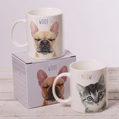 Bone China Mugs with Display Boxes - French Bulldog 'Woof' and Kitten 'Meow' #mug #dog #cat #woof #giftware