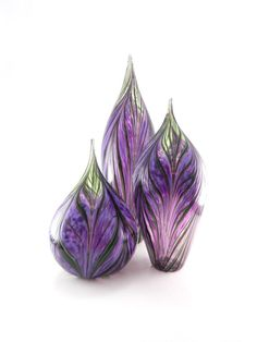 Hand Blown Art Glass Sculptures - Set of 3 - Hyacinth Purple and Lavender - Green - Feather Pattern - Amethyst