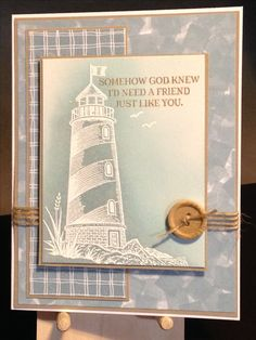 Friendship Card - Stamps: Stampabilities Beacon of Light, Stampin' Up Rose Wonder - Inks: Stampin' Up Crumb Cake, Stampin' Up Baja Breeze, Distress Weathered Wood, Versamark - Hero Arts White Embossing Powder - May Arts Natural Twine - Paper: Strathmore Bristol Smooth, Stampin' Up Crumb Cake - Inspiration: http://heart2heartchallenges.blogspot.com/2013/07/water-water-everywhere.html
