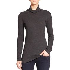 rag & bone/JEAN Seamed Long-Sleeve Turtleneck (430 BRL) ❤ liked on Polyvore featuring tops, sweaters, apparel & accessories, polo neck sweater, long sleeve sweaters, long sleeve pullover sweater, cotton pullovers and cotton sweater