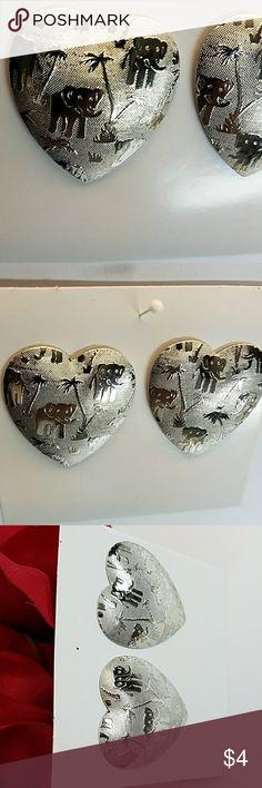 """Silver Elephant Pierced Earrings 1.25 x 1.25"""" heart silver tone unknown Jewelry Earrings"""