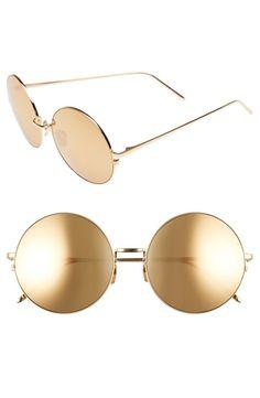 604b4351189 Linda Farrow 58mm 22 Karat Gold Trim Sunglasses