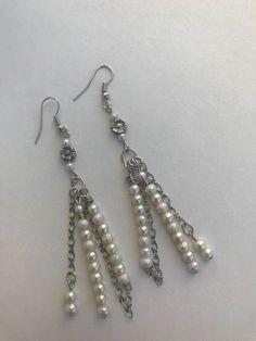 Cream Pearl Beads/Silver Flower Beads/Sliver Chain/Hook Earrings #Handmade #DropDangle