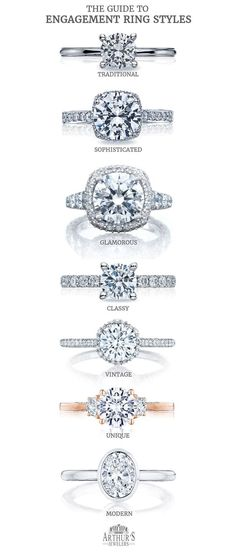 I've put together the ultimate guide to engagement ring styles. So whether you're wishing for something traditional or modern (or anything in between), you're sure to find a gem that fits her taste. Arthur's Jewelers Guide to Engagement Ring Styles. Popular Engagement Rings, Unique Diamond Engagement Rings, Three Stone Engagement Rings, Engagement Ring Styles, Designer Engagement Rings, Vintage Engagement Rings, Halo Engagement, Elegant Wedding Rings, Dreams