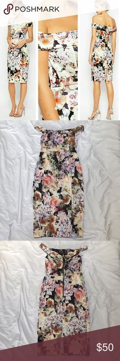 ASOS Floral Bardot Dress Stunning floral bardot dress from ASOS. Worn once to a wedding, in perfect condition! ASOS Dresses Midi