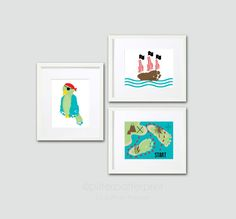 Footprint Pirate Art Prints 5x7 - Pirate Kids Room Decor - Personalized Boys Room Wall Art - Treasure Map Pirate Ship Parrot Pirate Nursery