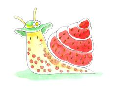 Strawberry snail by jkBunny on DeviantArt Watercolor Animals, Watercolor Paintings, Drawing For Kids, Art For Kids, Snail Cartoon, Bug Images, Summer Art, Rock Art, Cute Drawings