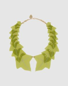 acrylic green leaf necklace. tatty devine