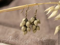 """Buy Earrings """"Linen"""" from polymer clay - brown, beige, linen, hanging earrings, long earrings"""