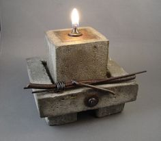 Cowboy Zen Oil Lamp and Tray  Concrete and by TheCeremonialHome, $225.00