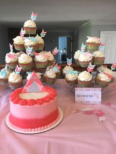 Young, Wild, and Three Cake and Cupcakes with Royal Icing Feather and Arrow Toppers
