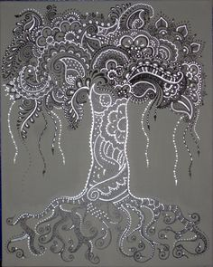 landscape Silver Tree of Life henna-painted canvas custom watercolor painting of your home Doodle Art, Tangle Doodle, Doodles Zentangles, Zen Doodle, Zentangle Patterns, Tree Of Life Art, Tree Art, Henna Art, Mandala Art