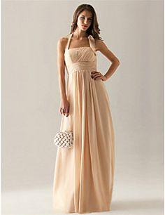 #Vestido de Dama de Honor de Gasa Hasta el Suelo. ¿Te gusta? Encuentralo en nuestrio sitio,
