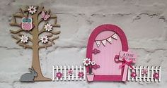 Magical Hand Painted Pink Fairy Door And Owl Tree With Fencing   eBay