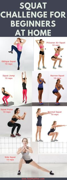 Toning your lower bodies can easily be achieved doing squats. I have compiled lists of squats you can perform. It is a 30 day squat challenge for beginners at home. Pulse Squats, Air Squats, Sumo Squats, Squat Challenge For Beginners, 30 Day Squat Challenge, Types Of Squats, Squat Hold, Tone Thighs, Challenges